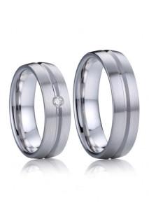Stříbrné snubní prsteny Živago a Lara s briliantem 033