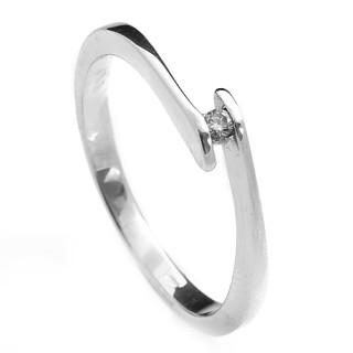 Prsten z bílého zlata s briliantem mezi míjejícími se konci šíny 990.00089