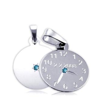 Křtící hodiny z bílého zlata s modrým kamínkem 15mm ZZ15.P11KM