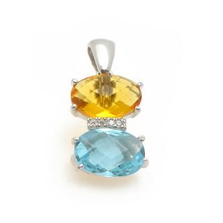Stříbrný přívěsek  dva oválné broušené kameny - světle modrý a žlutý, mezi nimi řada bílých kamínků   12.211.00151