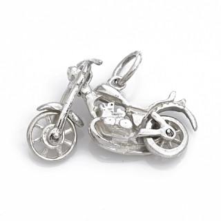 Stříbrný přívěsek motorka pohyblivá řidítka a kola 000.00039