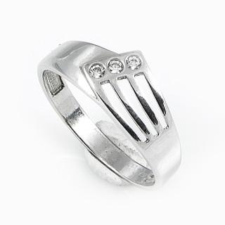 Prsten z bílého zlata geometrický ornament s třemi průřezy 010.00125