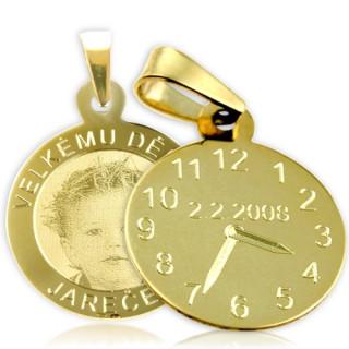 Křtící hodiny ze žlutého zlata ZZ20.P10foto s fotografií