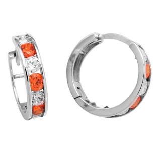 Zlaté náušnice kroužky oranžovo-bílé 131.00001