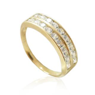 Zlatý prsten dvouřadý se zirkony 010.00074