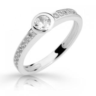 Zlatý zásnubní prsten zirkony 05.2357
