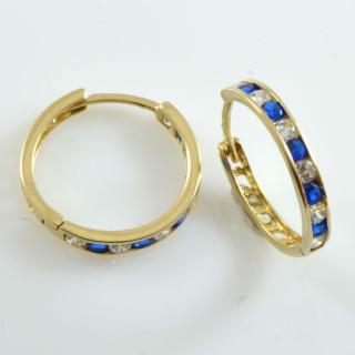 Zlaté náušnice kruhy s modrobílými kamínky 081.00041
