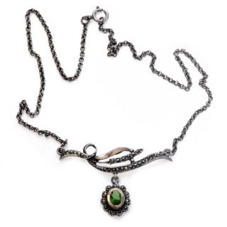 Náhrdelník z portugalského stříbra se zeleným kamenem CM9593