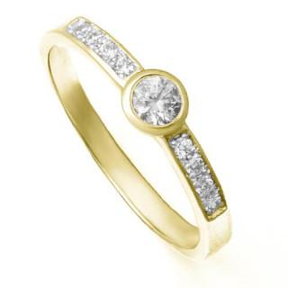 Zlatý zásnubní prsten se zirkony ZZ10.224020201