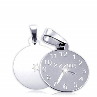 Křtící hodiny z bílého zlata s bílým kamínkem 15mm ZZ15.P11KB