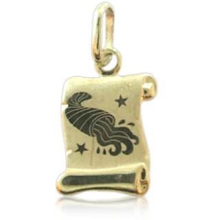 Zlatý přívěsek znamení Vodnář žluté zlato pergamen 000.00108
