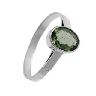 Zlatý prsten s vltavínem z bílého zlata 860.00003