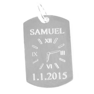 Stříbrné křtící hodiny na obdelníkové destičce ZZ2135.p20