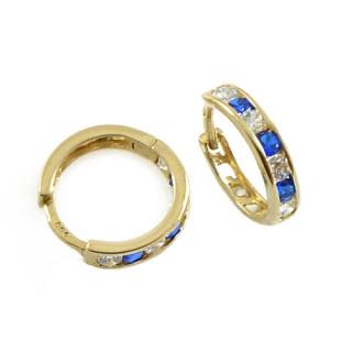 Zlaté náušnice kroužky tmavě modro-bílé 06.081.00035