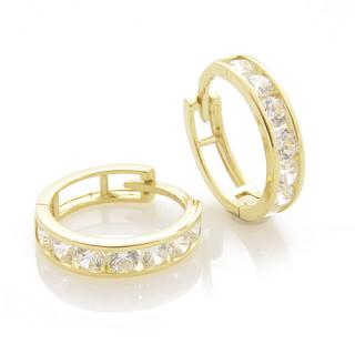 Zlaté náušnice kroužky s bílými kamínky 010.00002