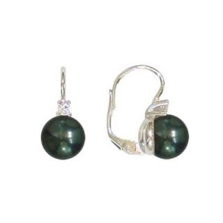 Stříbrné náušnice s černou perlou a zirkonem 201.00018