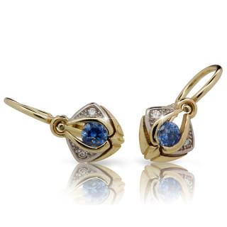 Zlaté dětské náušnice s modrým kamínkem 901.00010
