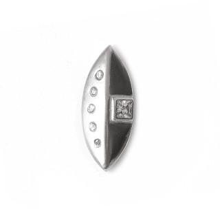 Stříbrný přívěsek přehnutý štít - 5 kamínků do oblouku proti čtvercovému kameni12.010.00139