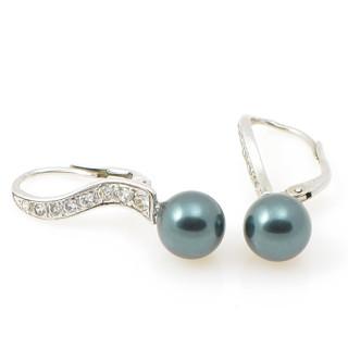 Stříbrné náušnice s černou perlou 201.00003