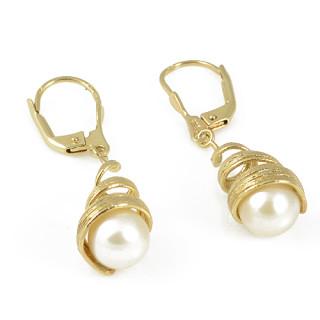 Zlaté visací náušnice s bílou perlou 740.00001