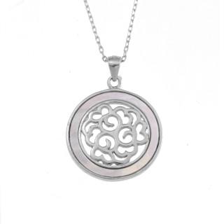 Stříbrný náhrdelník květ s perletí AGS524
