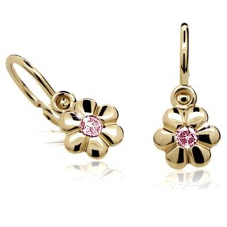 Zlaté dětské náušnice kytičky s růžovým kamínkem 030.00133