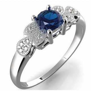 Prsten Gems Michaela z bílého zlata s diamanty a safírem 911.00001