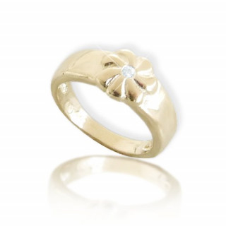 Dětský zlatý prsten ze žlutého zlata kytička se zirkonkem 010.00008