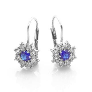 Stříbrné náušnice modrý kamínek okolo bílé 081.00005