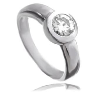 Prsten z bílého zlata se zirkonem 010.00020