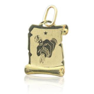 Zlatý přívěsek znamení Vodnář na pergamenu 000.00067