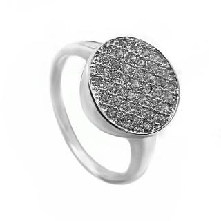 Stříbrný prsten posázený bílými kamínky 010.00214