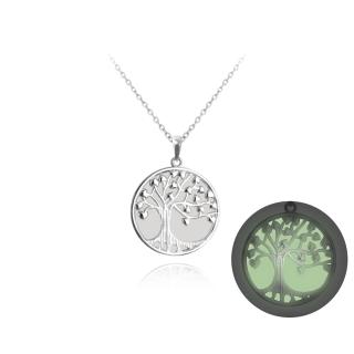 Stříbrný náhrdelník strom života svítící