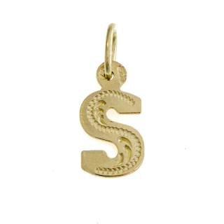 Přívěsek ze žlutého zlata písmeno S ryté ornamentem 000.00016