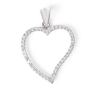 Stříbrný přívěs obrys srdce se zirkony 010.00069