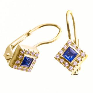 Zlaté náušnice modro-bílé kamínky 081.00051