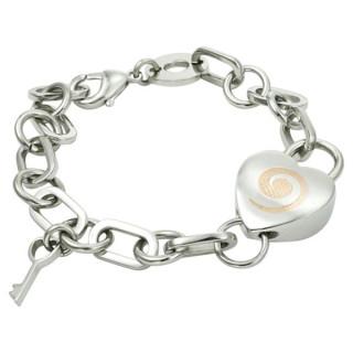 Ocelový náramek se srdcem a klíčkem kombinace oceli 000.00002