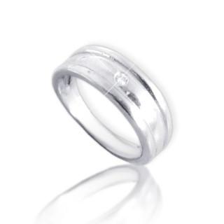 Dětský prstýnek z bílého zlata dvě podélné rýhy se zirkonem 010.00007
