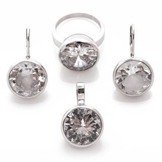 Stříbrná souprava šperků s velkými zirkony 010.00006