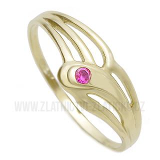 Zlatý prsten s rubínkem žluté zlato 960.00066