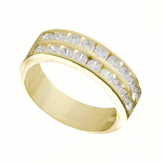 Zlatý prsten dvouřadý se zirkony 010.00126