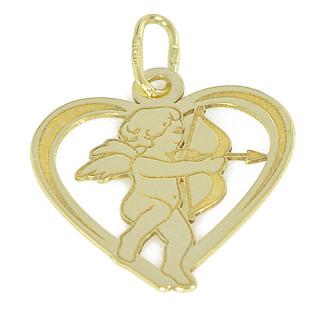 Zlatý přívěsek srdce s andělem PA1104