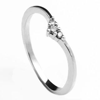 Prsten z bílého zlata se třemi brilianty 990.00088