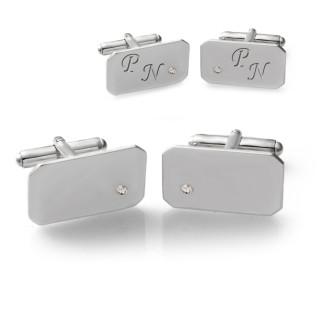 Manžetové knoflíčky ze stříbra BLANC s diamanty a gravírem