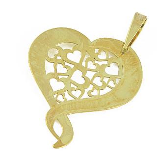 Zlatý přívěsek prořezávané srdce 000.00013