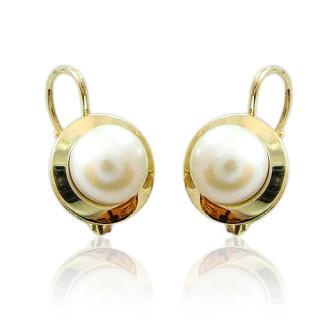 Zlaté náušnice s bílými perlami 740.00001