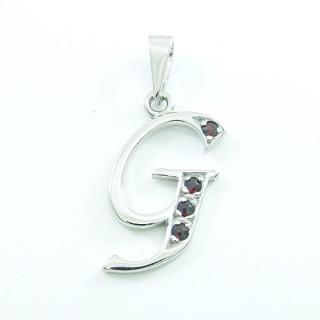 Stříbrný přívěsek s granáty písmeno G 970.00008