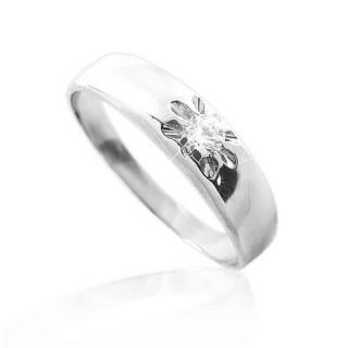 Zlatý prsten z bílého zlata se zirkonem zásnubní 010.00023