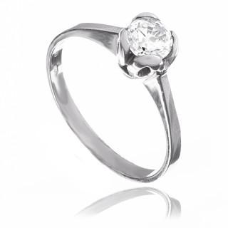 Prsten z bílého zlata se zirkonem 010.00069