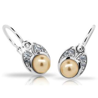 Stříbrné dětské náušnice se zlatavou perličkou 201.00020